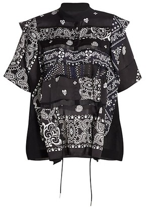 Sacai Archive-Print Tiered Satin Top