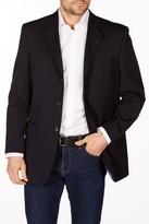 Levinas Navy Sharkskin Two Button Notch Lapel Wool Slim Fit Blazer