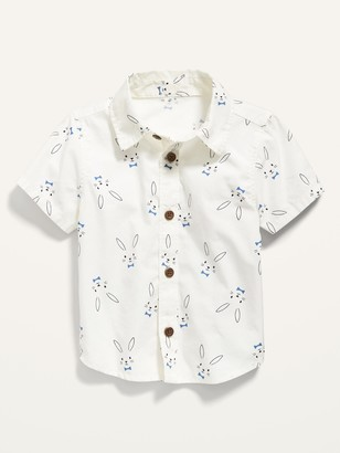 Old Navy Short-Sleeve Bunny-Print Poplin Shirt for Baby