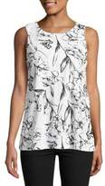 Lord & Taylor Sleeveless Floral Overlay Blouse
