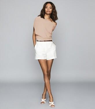 Reiss Meryl - Asymmetric Knitted Top in Blush