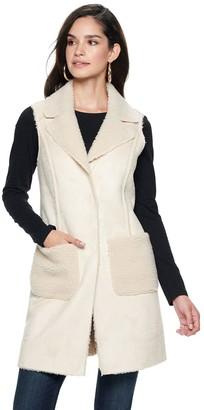 Nine West Women's Single-Breasted Faux-Shearling Vest