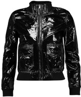 R 13 Bowie textured patent-leather biker jacket