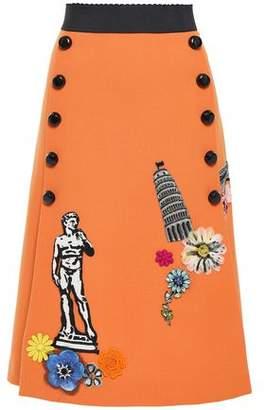 Dolce & Gabbana Embellished Embroidered Crepe Skirt