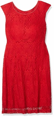 Connected Apparel Women's One Piece Cap Sleeve Allover Lace Sheath with Tonal Underlay