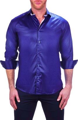 Maceoo Einstein Hexagon Blue Button-Up Shirt