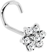 Body Candy Solid 14k Gold Clear Cubic Zirconia Flower Left Nostril Screw 20 Gauge