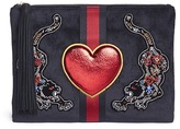 Sam Edelman 'Ryan' beaded tiger heart patch velvet pouch