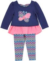 Nannette Blue & Pink Butterfly Tunic & Leggings - Toddler & Girls