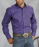 Roper Purple Poplin Snap Button-Up