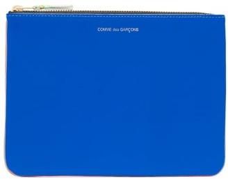 Comme des Garcons Colour-block Leather Pouch - Womens - Blue Multi