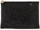 Neiman Marcus Oversized Crystal Faux-Suede Evening Clutch Bag, Black