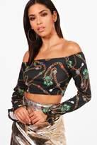 boohoo Caitlyn Chain Print Crop Flare Sleeve Bardot