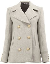 Balmain off-centre peaked cropped coat