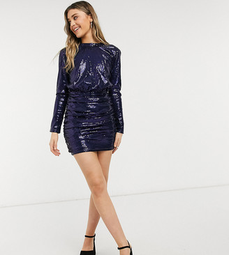 In The Style exclusive sequin high-neck 2-in-1 mini dress in navy
