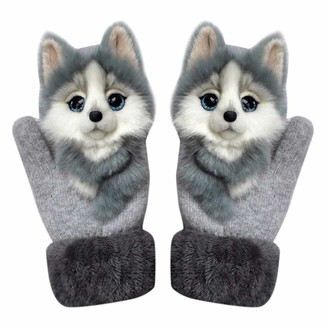 Moonoo 2020 Animal Pattern Gloves Autumn And Winter Warmth Plush Knitted Gloves For Women (Grey wolf)