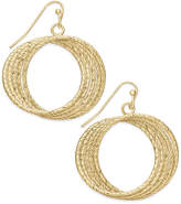 Thalia Sodi Gold-Tone Textured Multi-Row Drop Hoop Earrings, Only at Macy's