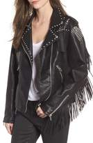 Blank NYC BLANKNYC Studded Fringe Faux Leather Moto Jacket