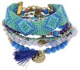 Target Distributed Women's Bracelet Stretch with Patterned Seed Bead, Coins and Tassel- Blue