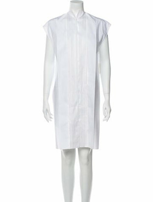 Hermes Mock Neck Knee-Length Dress White