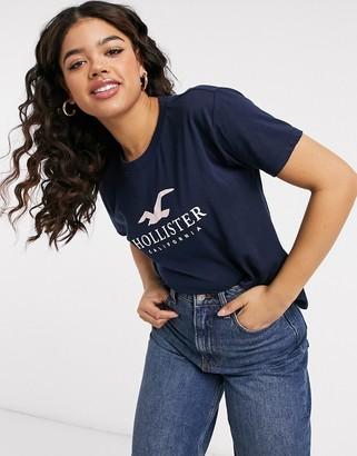Hollister timeless logo short sleeve t-shirt in navy