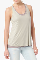 7 For All Mankind Double Layer Tank With Back Twist In Ecru Shimmer