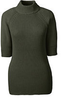 Classic Women's Petite Elbow Sleeve Rib Mock Sweater-Loden Green