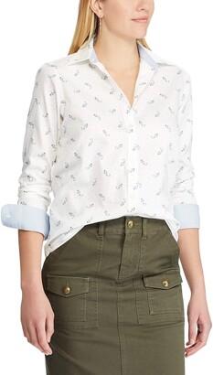 Chaps Women's Petite Long Sleeve Non Iron Cotton Sateen-Shirt