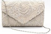 Nodykka Women Elegant Floral Lace Envelope Clutch Evening Prom Handbag Purse