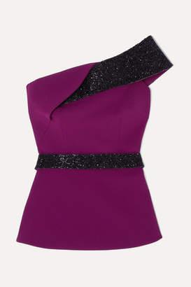 Safiyaa Vanida One-shoulder Crystal-embellished Crepe Top - Purple