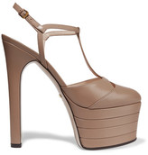 Gucci Leather Platform Pumps - Taupe