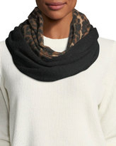 Neiman Marcus Cashmere colorblock Animal Print Infinity Scarf
