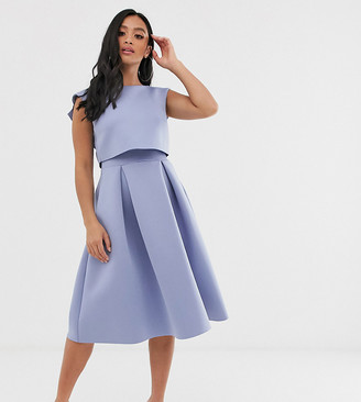 ASOS DESIGN Petite fold back crop top midi prom dress