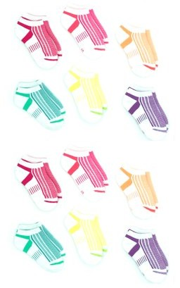 Athletic Works Girls Socks, 12 Pack No Show Mesh Top, Sizes S-L