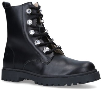 Florens Leather Embellished Combat Boots