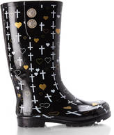 NOMAD Black & Gold Puddles II Printed Rain Boots