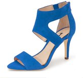 XYD Dancing Pumps Open Toe Strappy Sandals Ankle Wrap Mid Heels Elegant Dress Shoes for Women Size 12