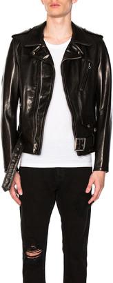 Schott Pebbled Moto Jacket in Black | FWRD