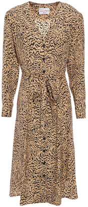 HVN Belted Tiger-print Silk Dress