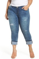 Democracy Plus Size Women's Ripped Slim Straight Leg Crop Jeans