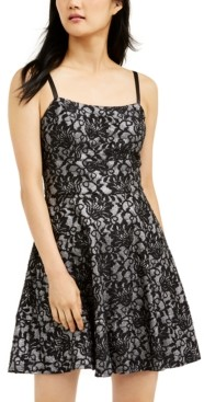 Speechless Juniors' Bonded-Lace Ruffle Hem Dress