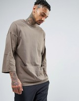 Asos Oversized 3/4 Sleeve T-Shirt With Pigment Wash And Pockets