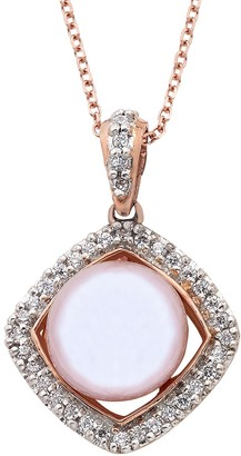 14k Gold Cultured Freshwater Pearl & 1/5 Carat T.W. IGL Certified Diamond Frame Pendant