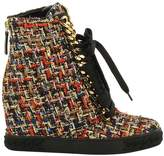 Casadei Tweed Lace-Up Sneakers