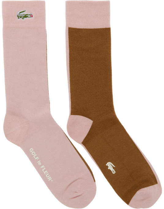 Lacoste Pink and Brown Golf le Fleur* Edition Colorblocked Socks