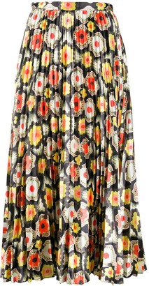 Temperley London Crochet-Print Pleated Skirt