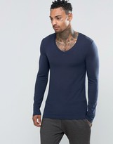 Asos Extreme Muscle Long Sleeve T-Shirt With V Neck In Navy