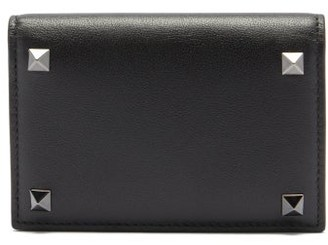 Valentino Rockstud Leather Bi-fold Cardholder - Black