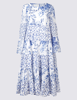 M&S Collection Printed Flared Sleeve Skater Midi Dress