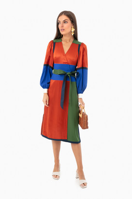 Tory Burch Kola Colorblock Silk Wrap Dress